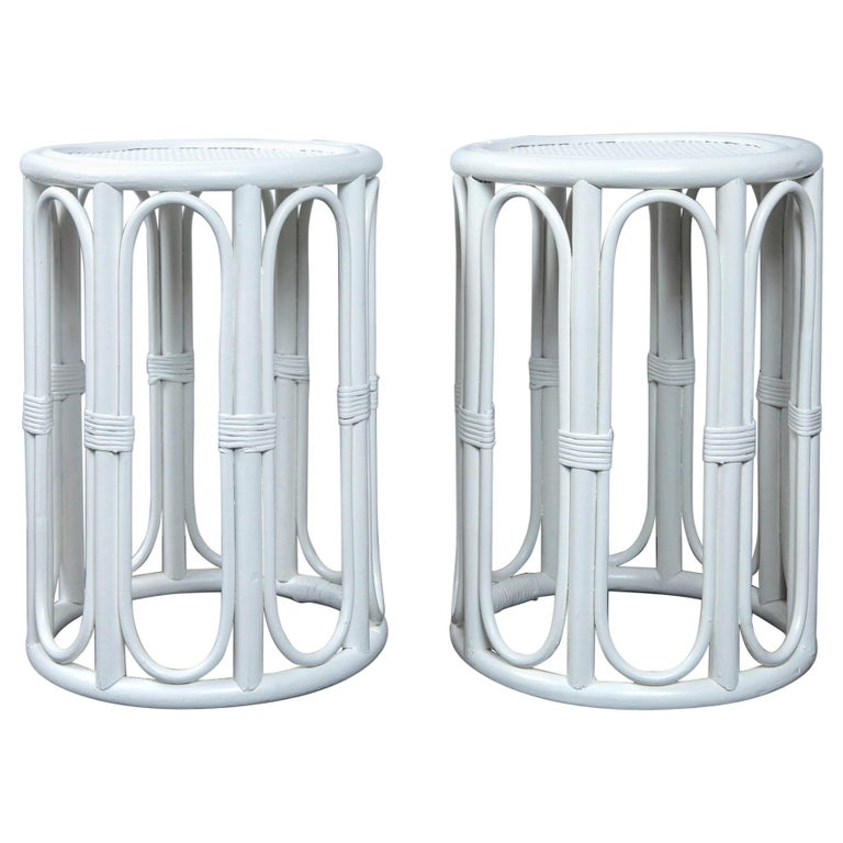 Pair of Cylindrical White Painted Rattan Side Tables For Sale