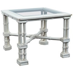 Small White Faux Bamboo Fretwork Table
