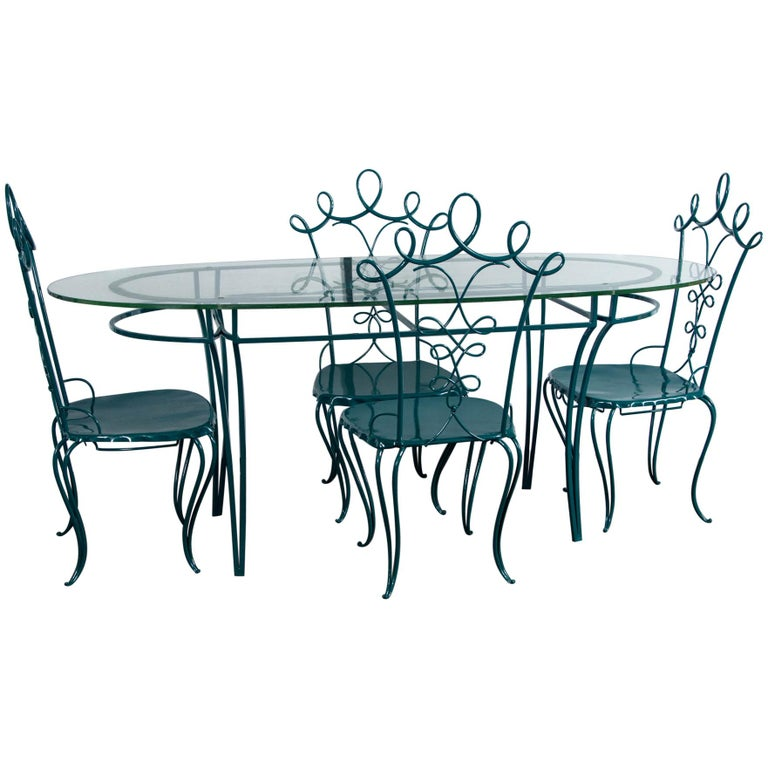 French Garden Table with Four Chairs After René Prou For Sale