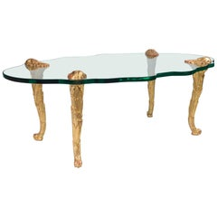 Maison Charles Style Glass and Giltwood Coffee Table, France, circa 1960s
