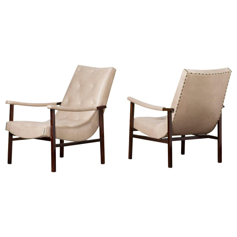 Pair of Modern Brazilian Rosewood Armchairs by Gelli, circa the 1950s For Sale