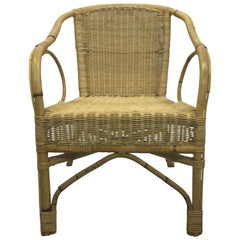 Single Vintage French Bamboo and Rattan Armchair, 1960s