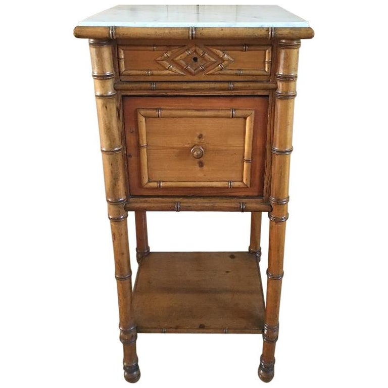 19th Century French Faux Bamboo Bedside Table For Sale