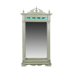 Large Painted Antique Wall Mirror, Victorian, Overmantel Pier, Tiles, circa 1890