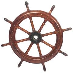 Antique Eight Spoke Mahogany Ships Wheel, 19th Century
