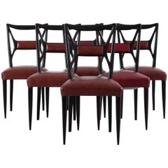 Set of Six Mid-Century Mahogany Dining Chairs by Osvaldo Borsani
