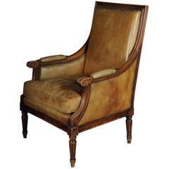 Armchair English Leather from, 19th Century Mahogany
