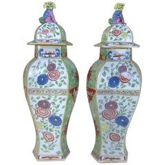 Pair of Samson Porcelain Vases and Lids with Dog of Foo Knops