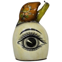 Sergio Bustamante Papier Mache Sculpture of Snail Sitting Atop Eyeball
