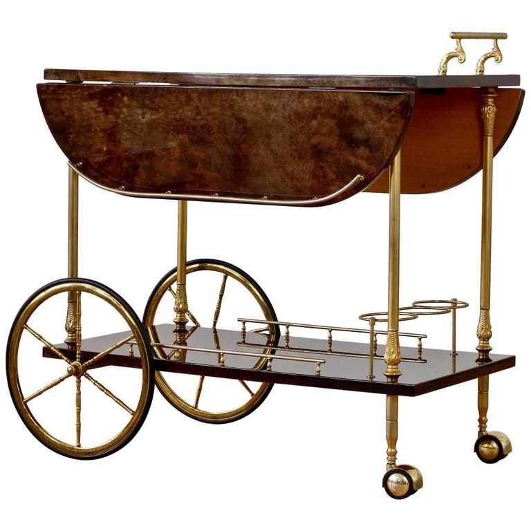 Aldo Tura 1960s Bar Cart, Tea Trolley or Drinks Stand in Brown Italian Leather