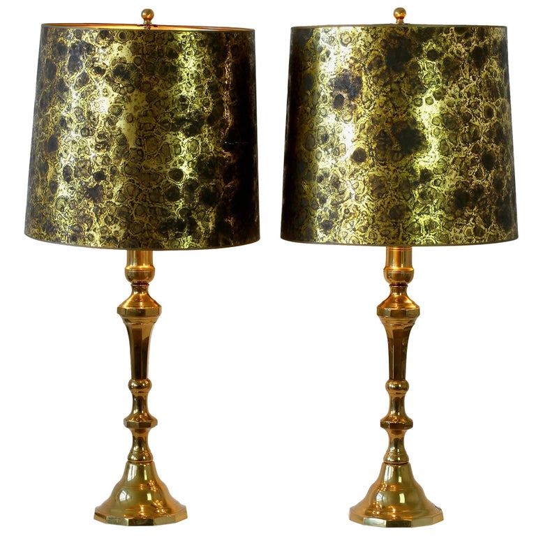 Pair of Oversized Midcentury Brass Floor / Table Lamps