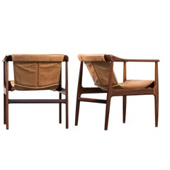 Pair of Modern Brazilian Rosewood Armchairs by Bernardo Figueiredo