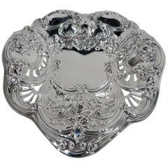 Exuberantly Romantic Antique Sterling Silver Heart Dish by Gorham