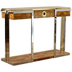 Pierre Cardin Style Burlwood Veneer Brass & Chrome Large Oversized Console Table