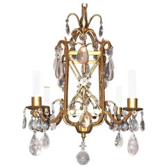 Wonderful Baguès French Gold Gilt Square Rock Crystal Flower Petite Chandelier