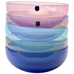 Signed Cenedese Murano Glass Set / Ensemble Vibrantly Coloured Glass Bowls
