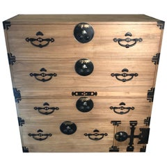 "Japanese Original Antique ""Flying Birds"" Five-Drawer Chest, 100% Original Tansu"