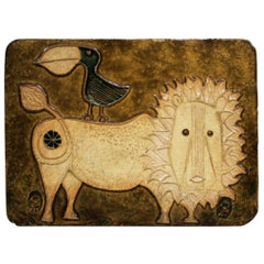 American Studio Ceramic Lion Wall Plaque by Hal Fromhold