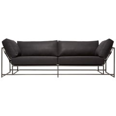 Black Canvas & Blackened Steel Two Seat Sofa