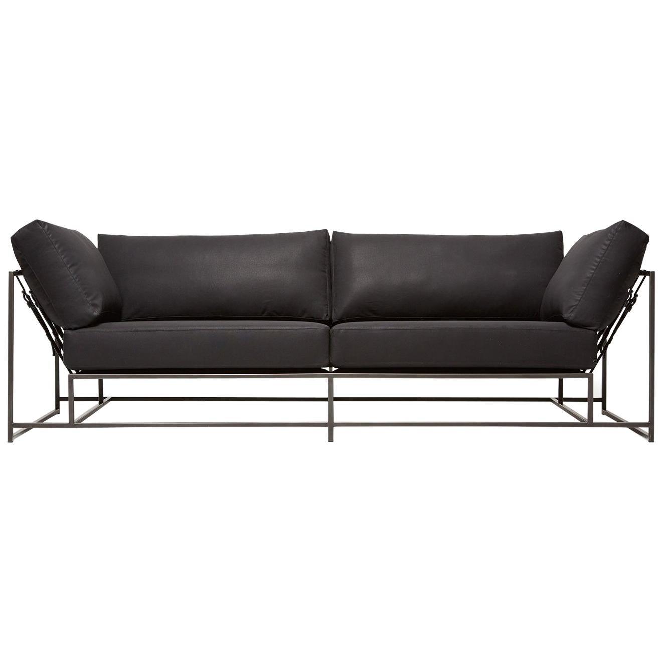 Black Canvas U0026 Blackened Steel Two Seat Sofa