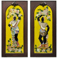 19th Century Reverse Painted Glass Blackamoor Figural Wall Relief Panels, a Pair
