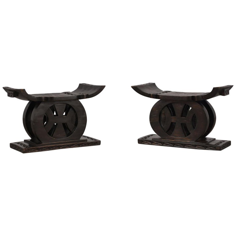 Pair of Low Carved Chinese Style Benches