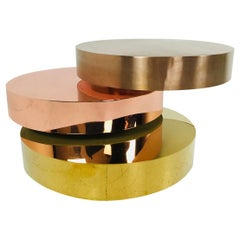 Three-Tiered Multiple Colored Metal Coffee Table in the Style Maria Pergay
