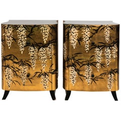 19th Century Pair of Gold Lacquered Two-Drawer Chinese Chests