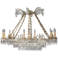 Oversize French Style Crystal and Brass Chandelier
