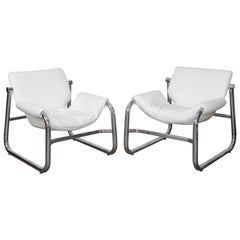 Pair of Maurice Burke Tubular Chrome and White Leather Chairs for Pozza, Brazil