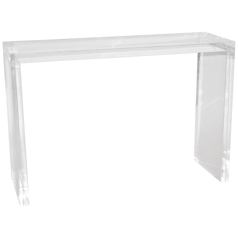 Thick Slab Lucite Console Table