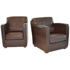 Pair of Leather Arm or Club Chairs by Roche Bobois