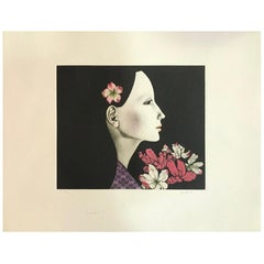 "Kaoru Saito Limited Edition Japanese Mezzotint Print ""Sasanqua"""