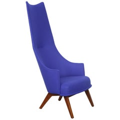 Newly Upholstered Tall Back Lounge Chair by Adrian Pearsall