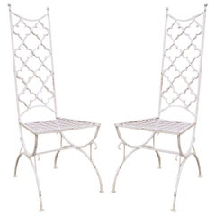 Vintage Hollywood Regency Wrought Iron Clover Fretwork Curule Side Chairs, Pair