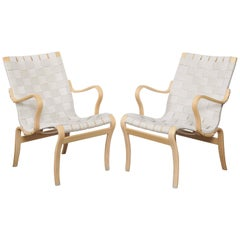 Midcentury Woven Lounge Chairs by Bruno Mathsson, Sweden