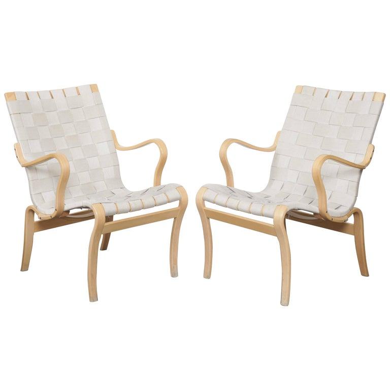 Midcentury Woven Lounge Chairs By Bruno Mathsson Sweden