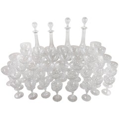 55-Piece Set French Baccarat Crystal Glasses, Decanters, Vases and Bowls