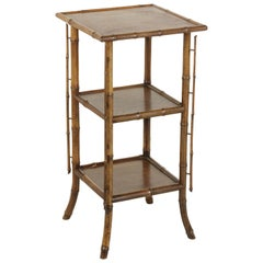 French Bamboo Fern Stand or Side Table with Three Mahogany Shelves, circa 1900