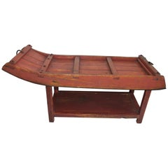 19Thc Red Painted  Sled  / Coffee Table