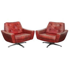 Pair of 1960s Swedish Red Leather Tufted Swivel Chairs