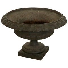 Large Late 19th Century French Cast Iron Garden Urn, Planter, Jardiniere
