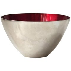 Conical Danish Modernist Bowl in Silver Plate and Enamel by DGS, 1950s