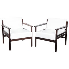 Brazilian 1960s Solid Rosewood Lounge Chairs with New White Leather