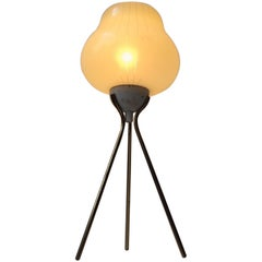 Italian Modernist Tripod Table Light in Brass and Pin-Stripe Glass, 1960s
