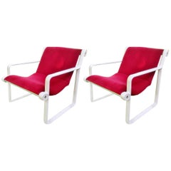 Pair of Midcentury Red Velvet Lounge Chairs by Hannah and Morrison, Knoll, 1972