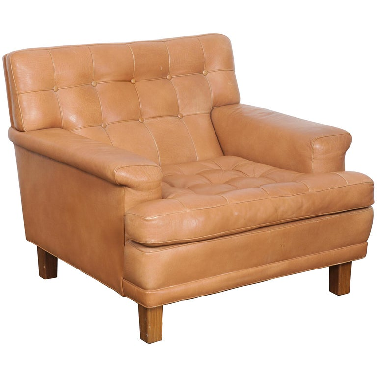 Arne Norell Merkur Tan Leather Tufted Lounge Chair, Sweden, Norell AB