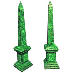 Large Pair of Malachite Veneered Obelisks