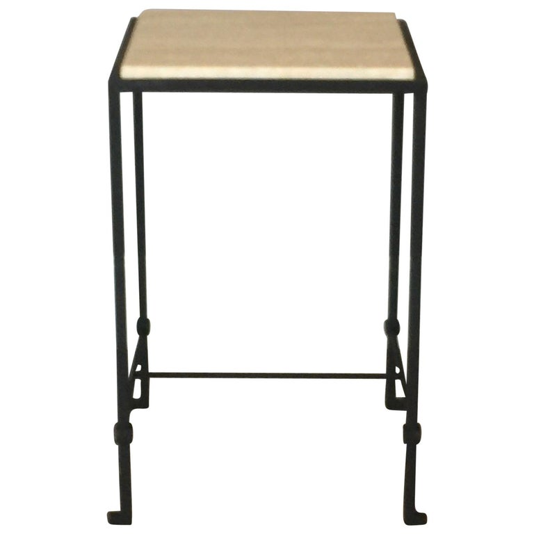 'Diagramme' Wrought Iron and Travertine Drink End Table by Design Frères