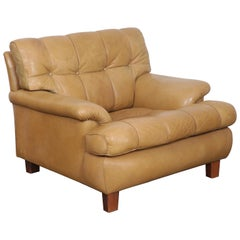 Arne Norell Tan Leather Tufted and Paneled Lounge Chair by Norell AB
